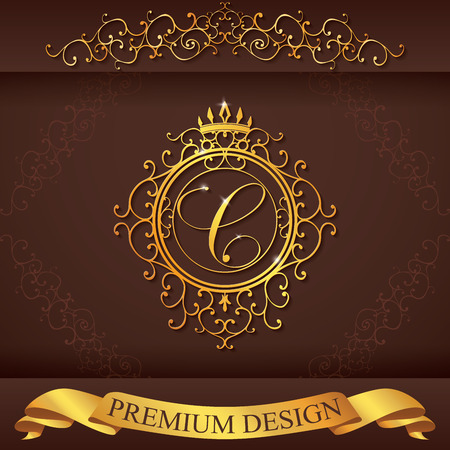 royal wedding: Letter C. Luxury Logo template flourishes calligraphic elegant ornament lines. Business sign, identity for Restaurant, Royalty, Boutique, Hotel, Heraldic, Jewelry, Fashion, vector illustration.
