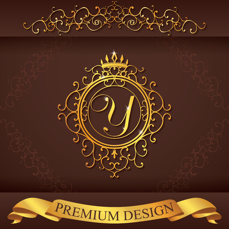 y ornament: Letter Y. Luxury Logo template flourishes calligraphic elegant ornament lines. Business sign, identity for Restaurant, Royalty, Boutique, Hotel, Heraldic, Jewelry, Fashion, vector illustration. Illustration