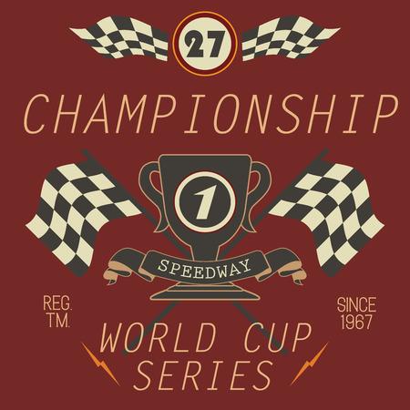 T-shirt Printing design, typography graphics, Speedway championship word cup series vector illustration Badge Applique Label. Ilustração