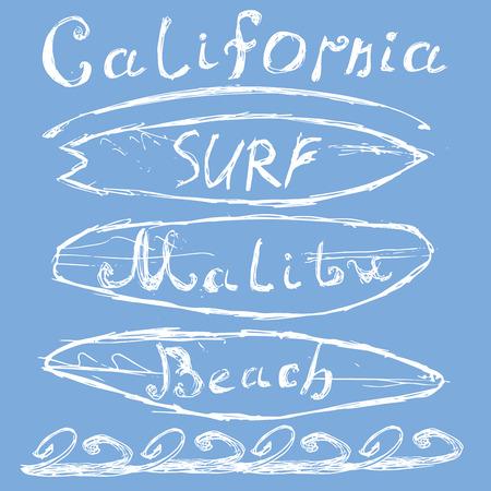 malibu: T-shirt Printing design, typography graphics Summer vector illustration Badge Applique Label California Malibu beach surf sign.