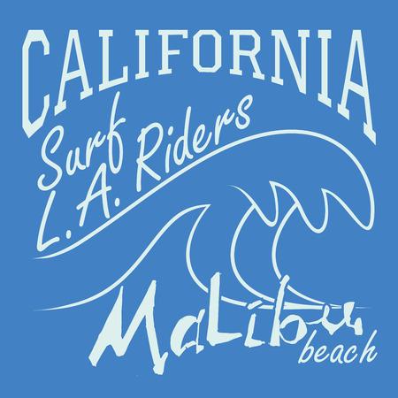 malibu: T-shirt Printing design, typography graphics Summer vector illustration Badge Applique Label California Malibu beach surf riders L.A. sign.
