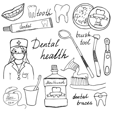 dentist cartoon: Dental health doodles icons set. Hand drawn sketch with teeth, toothpaste toothbrush dentist mouth wash and floss. vector illustration isolated. Illustration