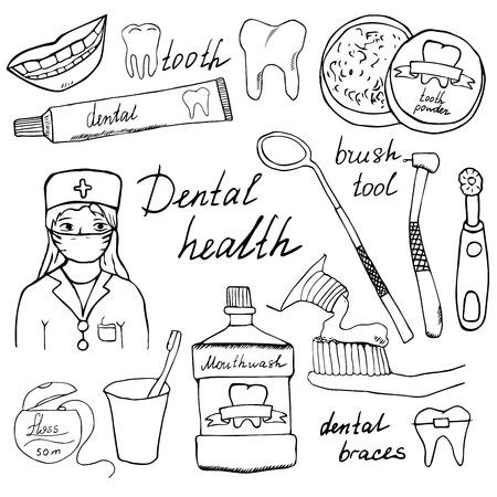 odontologo: Iconos doodles salud dental establecen. Mano boceto dibujado con dientes, pasta dental dentista cepillo de dientes enjuague bucal e hilo. ilustración vectorial aislado.