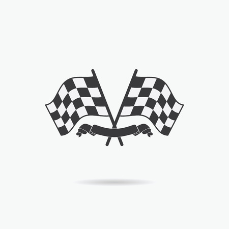 race winner: Flag icon. Checkered or racing flags and finish ribbon. Sport auto, speed and success, competition and winner, race rally, vector illustration.