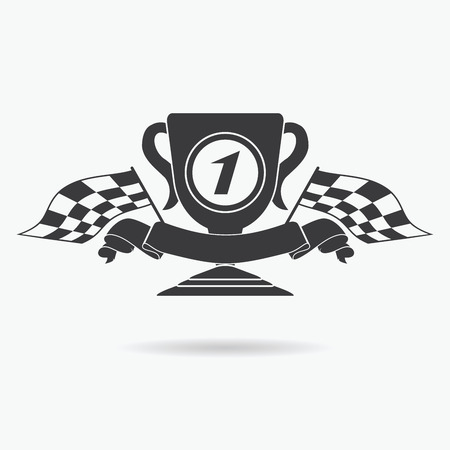 race winner: Flag icon. Checkered or racing flags first place prize cup and finish ribbon. Sport auto, speed and success, competition and winner, race rally, vector illustration. Illustration