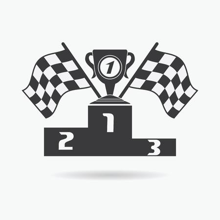 triunfador: Icono de la bandera. Banderas a cuadros o de carreras el primer lugar de la taza de premios y los ganadores del podio. Auto Sport, la velocidad y el éxito, la competencia y el ganador, raza reunión, ilustración vectorial.