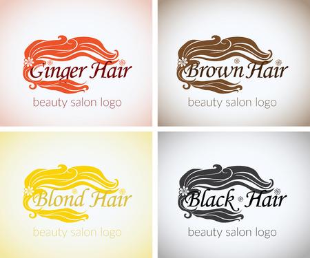 rubia: Peluquer�a empresa de dise�o de logotipo vectorial identidad maqueta conjunto plantilla. concepto abstracto rubias marrones colores negro y jengibre, estudio de belleza logotipo estilizado.