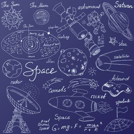 Space doodles icons set. Hand drawn sketch with Solar system, planets meteors and comats, Sun and Moon, radar, astronaut rocket and stars. vector illustration on blue background.