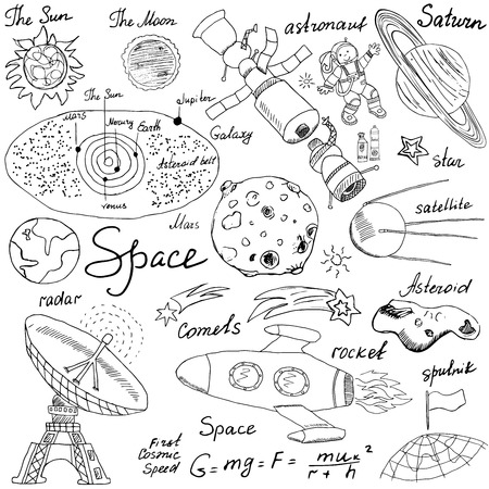 Space doodles icons set. Hand drawn sketch with Solar system, planets meteors and comats, Sun and Moon, radar, astronaut rocket and stars. vector illustration isolated background.