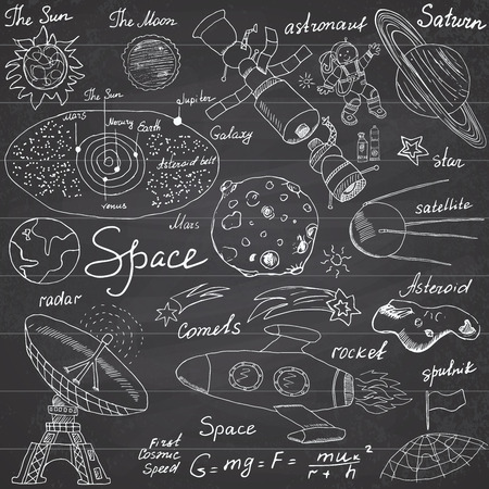 Space doodles icons set. Hand drawn sketch with Solar system, planets meteors and comats, Sun and Moon, radar, astronaut rocket and stars. vector illustration on chalkboard background.
