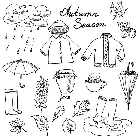 fall winter: Autumn season set doodles elements. Hand drawn set with umprella cuo of hot tea, rain, rubber boots, clothes and leevs collection. Drawing doodle collection, isolated on white background.