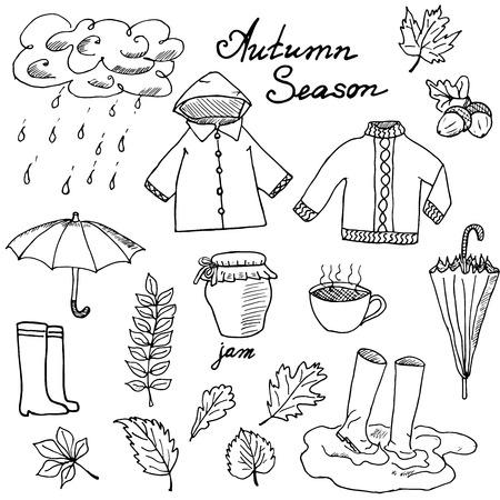 botas: Temporada de oto�o fijaron doodles elementos. Dibujado a mano conjunto con umprella cuo de t� caliente, lluvia, botas de goma, ropa y leevs colecci�n. Dibujo colecci�n garabato, aislado en fondo blanco.