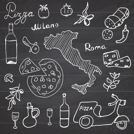 wine and cheese: Italy doodles elements. Hand drawn set with pizza scooter, wine, cheese and map. Drawing doodle collection, on chalkboard background. Illustration