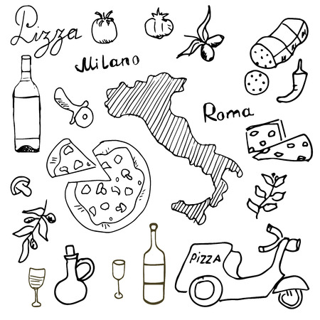 wine and cheese: Italy doodles elements. Hand drawn set with pizza scooter, wine, cheese and map. Drawing doodle collection,  isolated on white background. Illustration