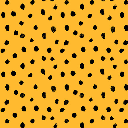 Hand drawn dots, seamless pattern, cheetah skin texture, vector illustration.