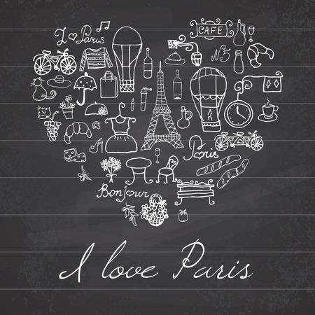 bred: Par�s doodles elementos. Mano conjunto dibujado withefel torre de flores de caf� criados y bicicleta. Dibujo colecci�n garabato, en forma de coraz�n, en el fondo pizarra.