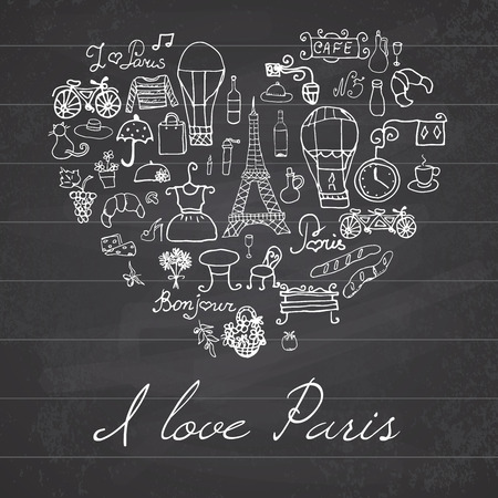 Paris doodles elements. Hand drawn set withefel tower bred cafe flowers and bicycle. Drawing doodle collection, in heart shape, on chalkboard background.