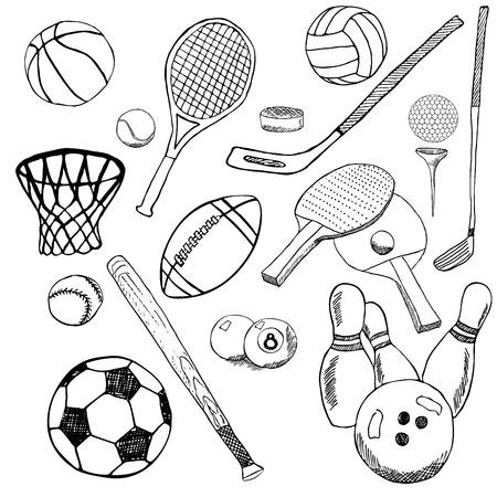 bolos: Bolas del deporte Mano boceto dibujado establece con el b�isbol, bolos, f�tbol tenis, pelotas de golf y otros art�culos deportivos. Dibujo doodles elementos. recogida, aisladas sobre fondo blanco.