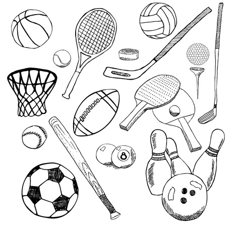 rugby ball: Sport balls Hand drawn sketch set with baseball, bowling, tennis football, golf balls and other sports items. Drawing doodles elements. collection, isolated on white background.