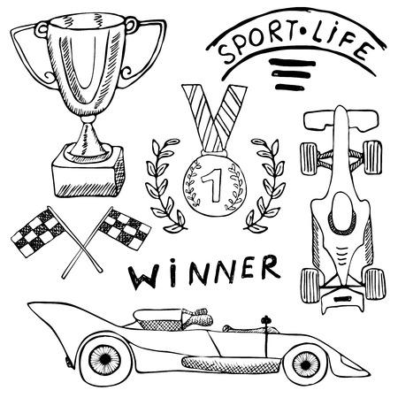 bandera carreras: Deporte artículos de automóviles doodles elementos. Conjunto drenado mano con el icono de la bandera. Banderas a cuadros o carreras primer lugar taza de premio. medalla y coche perchado, ilustración vectorial carrera. Dibujo colección del doodle aislado en blanco. Vectores