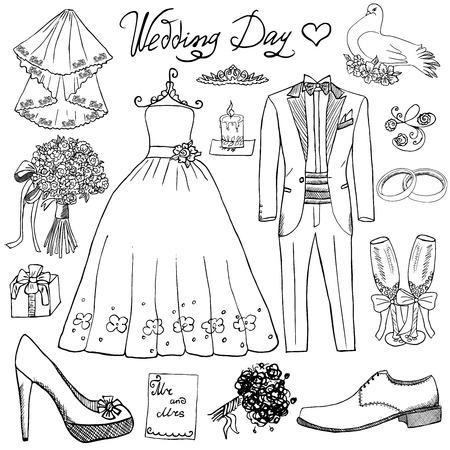 결혼식: 결혼식 날 요소. 손은 꽃 촛불 신부 드레스와 턱시도 정장, 신발, 샴페인 축제 속성 안경 설정 그려. 흰색 배경에 고립 된 그리기 낙서 수집, 일러스트