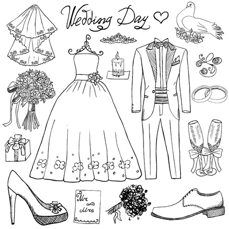 wedding cake: Wedding day elements. Hand drawn set with flowers candle bride dress and tuxedo suit, shoes, glasses for champaign and festive attributes. Drawing doodle collection, isolated on white background