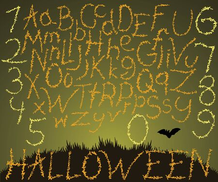 flying bats: Hand drawn font, vector illustration of calligraphic letters for halloween made with flying bats.