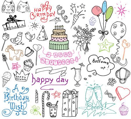 誕生日要素。手には、誕生日ケーキ、気球、ギフト、お祝い属性セットが描画されます。子供の落書きコレクション、白い背景で隔離の描画