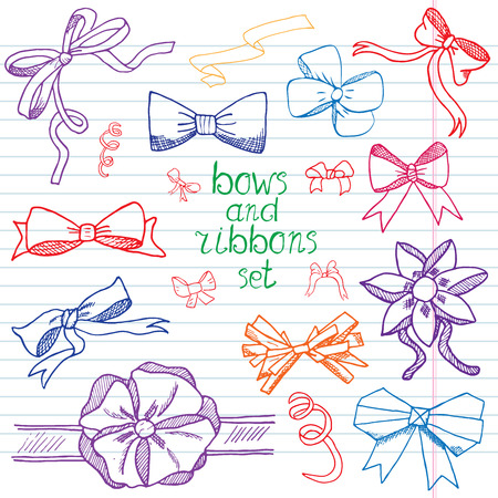 ribbons and bows: Hand drawn ribbons and bows set vector illustration. A collection of graphic ribbons and bows, design elements set. Illustration