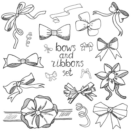 hands tied: Hand drawn ribbons and bows set vector illustration. A collection of graphic ribbons and bows, design elements set isolated. Illustration