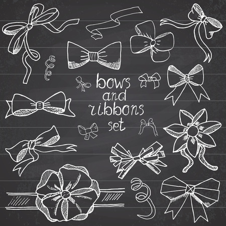 ribbons and bows: Hand drawn ribbons and bows set vector illustration. A collection of graphic ribbons and bows, design elements set on chalkboard