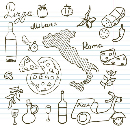 map wine: Italy doodles elements. Hand drawn set with pizza scooter, wine, cheese and map. Drawing doodle collection, on paper background