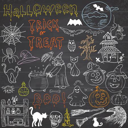 brujas caricatura: Bosquejo de los elementos de dise�o de halloween con punpkin, bruja, gato negro, fantasma, cr�neo, murci�lagos, ara�as con web. Doodles fijados con letras, dibujado a mano ilustraci�n vectorial sobre fondo pizarra Vectores