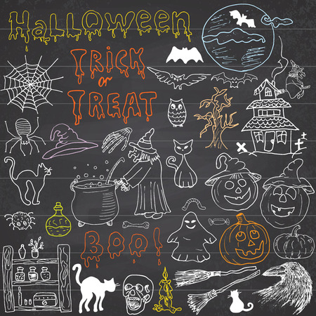 Sketch of halloween design elements with punpkin, witch, black cat, ghost, skull, bats, spiders with web. Doodles set with Lettering, Hand-Drawn Vector Illustration on chalkboard background Illustration
