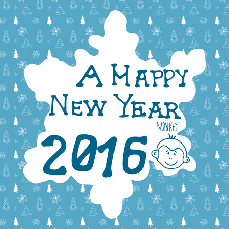 greating card: Hand drawn Sketch design of happy new year 2016 greating card. Doodles with Lettering, on christmas trees and snowflakes pattern. Vector Illustration Elements with monkey chinees zodiac year symbol.