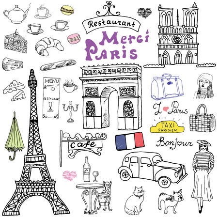 Paris doodles elements. Hand drawn set with eiffel tower bred cafe, taxi triumf arch, Notre Dame cathedral, facion elements, cat and french bulldog. Drawing doodle collection, isolated on white.