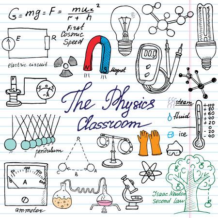 electricidad: F�sica y elementos sciense doodles iconos conjunto. Bosquejo drenado mano con el microscopio, las f�rmulas, los experimentos equpment, herramientas de an�lisis, un im�n, p�ndulo, luz, ilustraci�n vectorial sobre fondo de papel Vectores