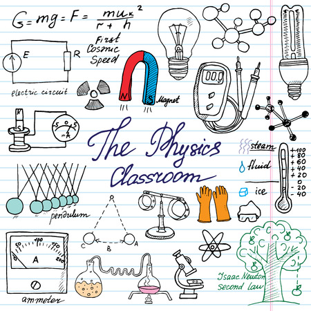 algebra: Physics and sciense elements doodles icons set. Hand drawn sketch with microscope, formulas, experiments equpment, analysis tools, magnet, pendulum, electricity, vector illustration on paper background