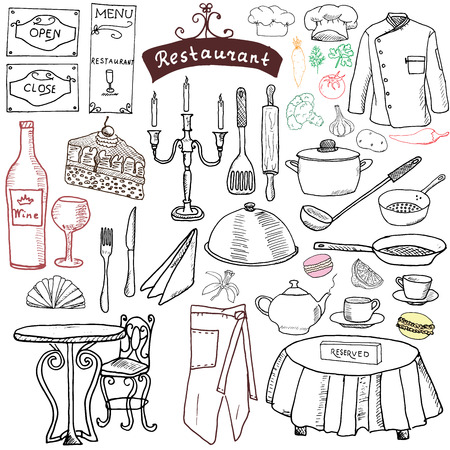 knife and fork: Paris doodles elements. Hand drawn set with eiffel tower bred cafe, taxi triumf arch, Notre Dame cathedral, facion elements, cat and french bulldog. Drawing doodle collection, isolated on white Illustration