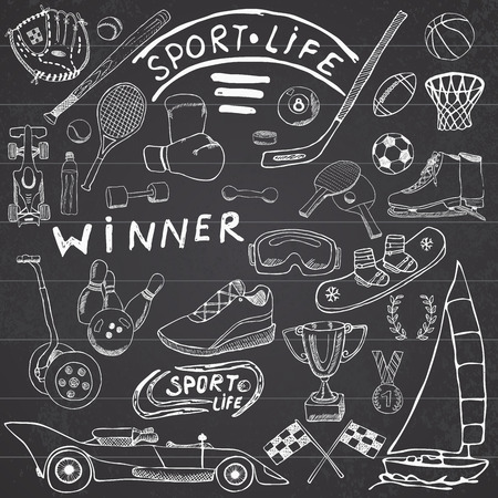 winter car: Sport life sketch doodles elements. Hand drawn set with baseball bat, glove, bowling, hockey tennis items, race car, cup medal, boxing, winter sports. Drawing collection, on chalkboard background.