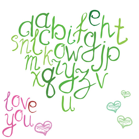 hand brushed: Hand drawn font, vector illustration of hand brushed calligraphic letters in shape of heart.