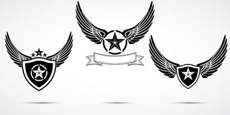 engel tattoo: Flügel abstrakte Emblem Set, Logo-Vorlage, Abzeichen Etikett, Symbol, Tattoo-Design. Illustration