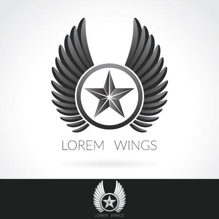 Wing abstract Logo sjabloon met ster in het midden badge label embleem pictogram.