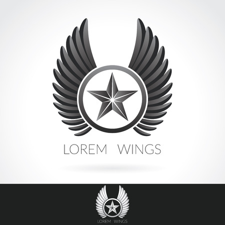 wings: Wing abstract Logo template with star in the middle badge label,  emblem icon.