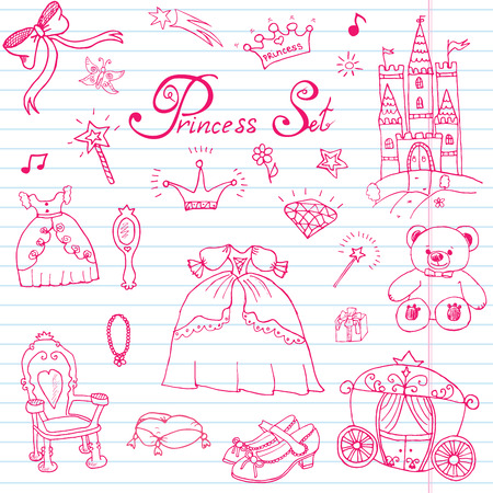 jewlery: Hand drawn vector illustration set of princess sign, Castel, throne and carriage, magic wand, mirror, stuffed toy, croun and jewlery, cute items doodles elements. Illustration