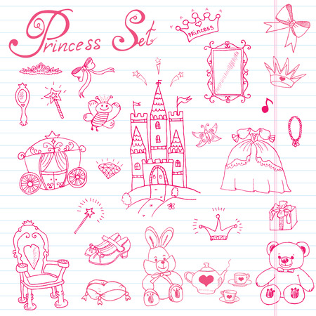 Hand drawn vector illustration set of princess sign, Castel, throne and carriage, magic wand, mirror, stuffed toy, croun and jewlery, cute items doodles elements. Stock Illustratie