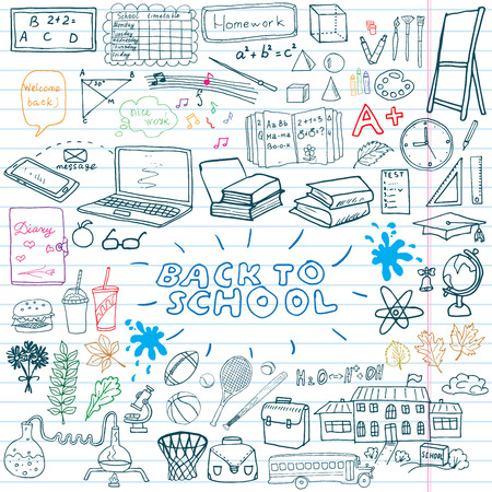 Back to School Supplies Sketchy Notebook Doodles set with Lettering, Hand-Drawn Vector Illustration Design Elements on Lined Sketchbook on chalkboard background. Иллюстрация