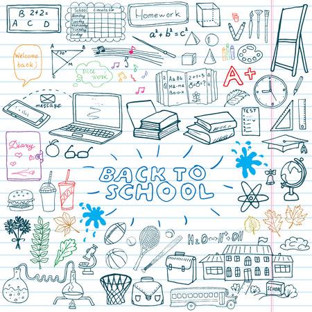 classroom supplies: De nuevo a fuentes de escuela Doodles incompletos del cuaderno establecidos con letras, dibujado a mano ilustraci�n vectorial Elementos de dise�o en la arbolada Sketchbook de fondo de pizarra.