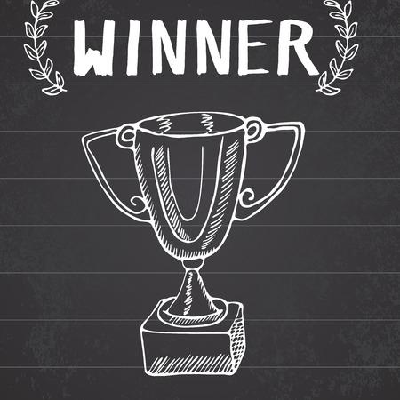 trofeo: Sport bosquejo del Doodle trofeo. Mano ganadores dibujados premio en el fondo pizarra.