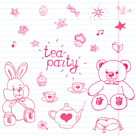 stuffed toys: Hand drawn vector illustration set of tea party with stuffed toys, tea pot, cups, pancakes, sweets birds and butterflies, cute items doodles elements.